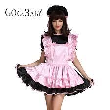Cross Dressing Halloween Costume Aliexpress Buy Forced Sissy Maid Pink Black Satin Dress