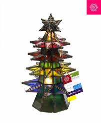 lighted christmas tree colored stained glass u0026 pierced metal tin