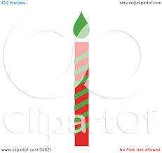 clipart illustration of a red and green striped christmas candle
