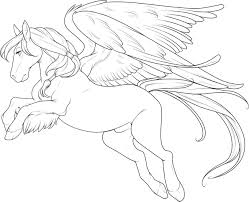 horse with wings large coloring pages for kids d4t printable