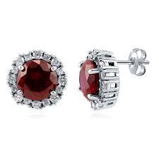 ruby stud earrings sterling silver simulated ruby cubic zirconia cz halo