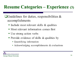 Resume Qualities Writing A Great Resume Created By George Mason University Ppt