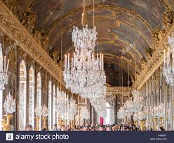 versailles chandelier under the chandeliers of the versailles palace mirror room stock