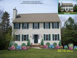 Front Landscaping Ideas by Colonial House Landscaping Landscape Design With Rose And