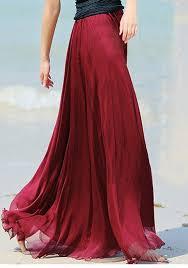 flowy maxi skirts wine plain draped wavy edge pleated elastic waist floor length
