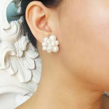 pearl stud earrings vintage retro style pearl cluster bridal earrings pearl stud