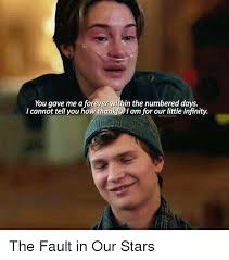 The Fault In Our Stars Meme - you gave me a forever within the numbered days i cannot tell you