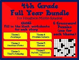 houghton mifflin reading 4th grade cloze worksheets u0026 crossword