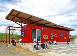 used shipping containers are being transformed into schools