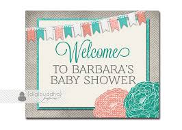 welcome sign baby shower pennant banner blooms coral turquoise