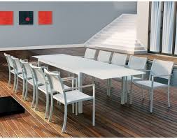 White Patio Dining Table And Chairs Outdoor Extendable Table