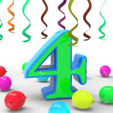 number four meaning colourful birthday or celebration