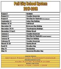 approved academic calendar for 2017 2018 pell city schools
