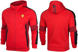 ferrari clothing puma sf ferrari hooded sweat jacket zip up mens jumper red 761979