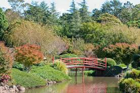 Japanese Style Garden by Beautiful And Tranquil Japanese Style Garden With Red Bridge