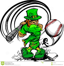 st patricks day leprechaun swinging baseball bat royalty free