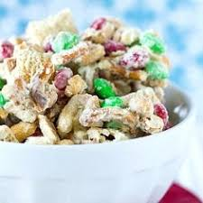 white chocolate chex mix also know as christmas joy my friend