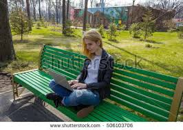 Turkish Bench Woman Sitting On Green Bench Laptop Stock Photo 506103727