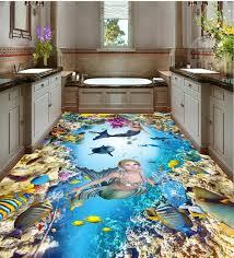 3d bathroom flooring free shipping 3d pvc flooring custom wall sticker sea mermaid 3d
