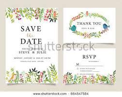 wedding invitation card template text flower stock vector