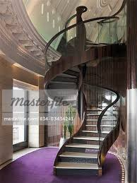 Spiral Stair Handrail Spiral Staircase With Glass Handrail Stock Photo Masterfile