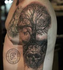age studio tattoos skull tree