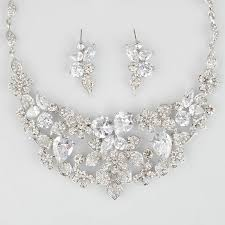 luxury silver necklace images Necklace set for wedding silver jewelry set flower luxury jewelry jpg