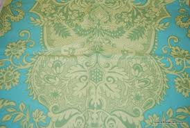 Light Cotton Fabric Amy Butler Q111 Amy Butler Floral Lime Green Light Blue Background