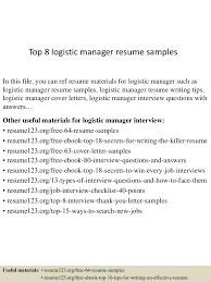 Senior Logistic Management Resume Vp by Top8logisticmanagerresumesamples 150425024649 Conversion Gate01 Thumbnail 4 Jpg Cb U003d1429930044