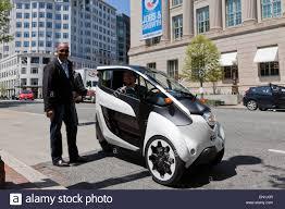 toyota motors usa toyota i road concept 3 wheeled ev on road washington dc usa