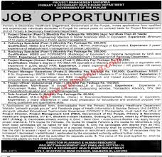 primary u0026 secondary healthcare department punjab jobs 2017 for pmu