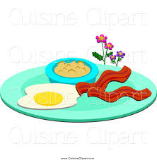 cuisine clipart of a breakfast plate with eggs bacon and oatmeal