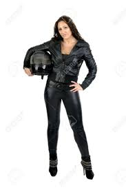black motorbike jacket woman in black with motorcycle helmet stock photo picture