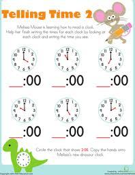 match the clock worksheet education com