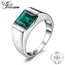 square rings jewelry images Jewelrypalace men 39 s square 2 2ct green created emerald engagement jpg