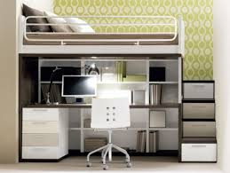 Bunk Beds With Built In Desk Awesome Saving Space Bedroom With Gray And White Solid Wood Bunk