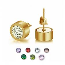 stainless steel stud earrings gold finish stainless steel stud earrings with seven