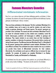 differentiated genetics worksheets with famous monsters by elly