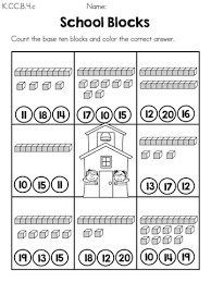 Counting By Tens Worksheets For Kindergarten Blocks Count The Base Ten Blocks And Color The Correct