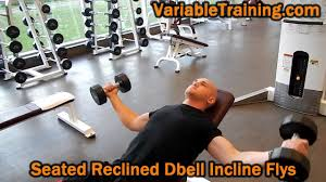 seated reclined dbell incline flys youtube