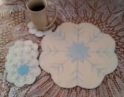 cath u0027s pennies designs snowflake wool penny rug candle mat u0026 mug
