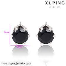 6mm stud earrings 91752 xuping 6mm stud black earrings for women seoul