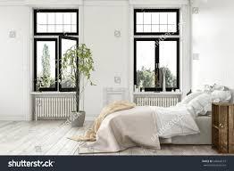 bright light modern luxury bedroom tall stock illustration
