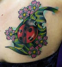 Ladybug And Flower Tattoos - tatuajes de nombres cake ideas and designs angry mighty mouse