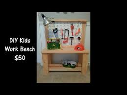 Boys Wooden Tool Bench Diy Kids Workbench 50 Youtube