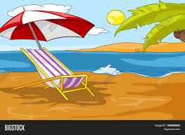 Big W Beach Umbrella Hand Drawn Cartoon Of Summer Landscape Background Of Beach Resort