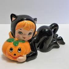 vintage lefton halloween kitty cat kitten in costume with