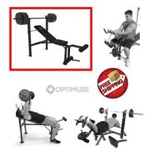 Weight Bench With Barbell Set Weight Bench Set 100 Lb Weights Home Gym Olympic Press Lifting