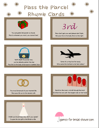 free printable pass the parcel bridal shower game cards fun