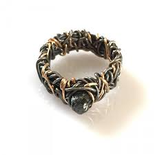 steunk engagement ring 14k gold ring with blackened silver steunk